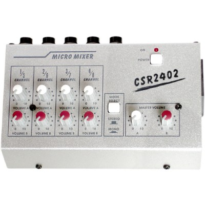 Mini Mixer CSR MM2402 com 8 Canais Mesa de Som