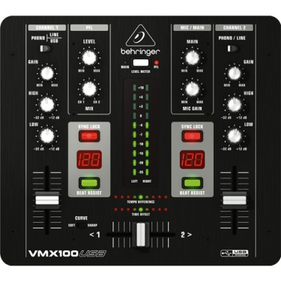 Mixer Dj 2 Canais Behringer VMX100USB com Interface USB