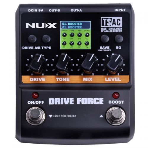 Pedal Drive e Booster Nux para Guitarra Drive Force