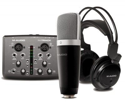 Kit Estúdio Vocal Pro Microfone + Interface + Fone - M-Audio