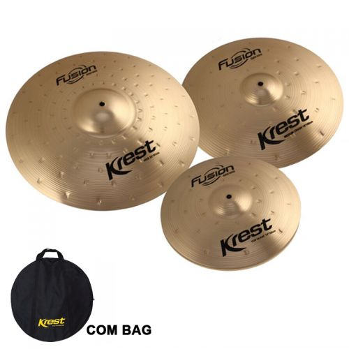 Set de Pratos Krest Medium Hi Hat 14, Medium Crash 16, Ride 20 Fusion Bronze B8