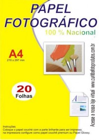 Papel Fotográfico 180gr - GLOSSY - Pacote c/ 20 folhas