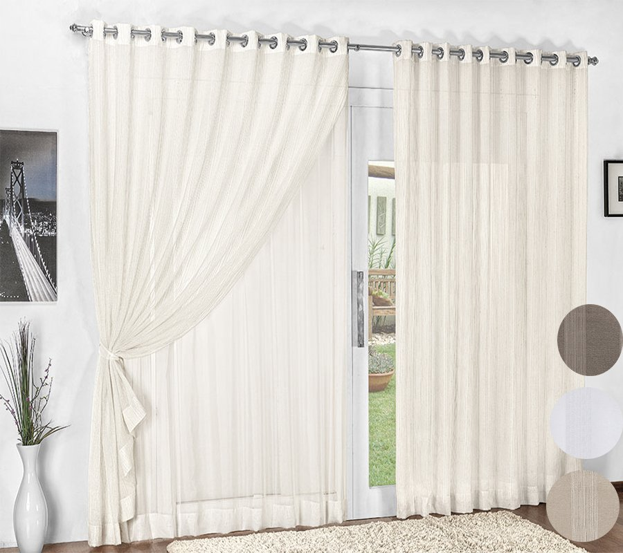 Cortina para var o 3m x 2 50m texture voal shop do enxoval for Argollas con pinzas para cortinas