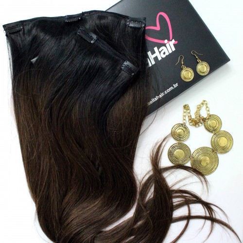 APLIQUE TIC TAC HUMANO Liso Ombre Hair Chocolate 70 cm