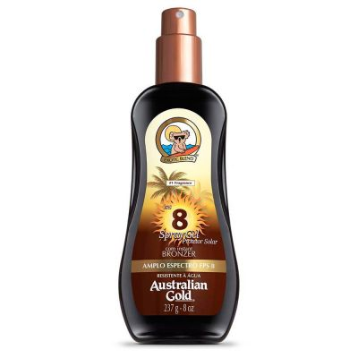 Australian Bronzeador Gold FPS 8 Instant Bronzer Spray Gel 237ml