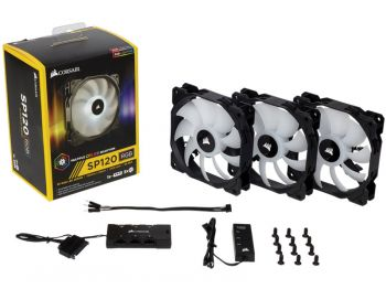 FAN CORSAIR SP120 HIGH PERFORMANCE RGB LED 120MM C/CONTROLADOR THREE PACK CO-9050061-WW