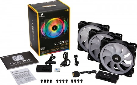 FAN CORSAIR AIR SERIES LL120MM RGB EMBALAGEM TRIPLA COM CONTROLADOR CO-9050072-WW  - foto principal 1