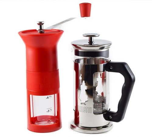 Kit Prensa Francesa Bialetti Preziosa 350ml e Moedor Manual Bialetti