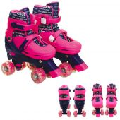 Patins Com Luz Led 4 Rodas Rosa Retrô Ajustavel 39 A 42