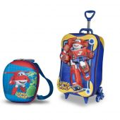 Mochila Lancheira Super Wings Robo Robô Kit Escolar