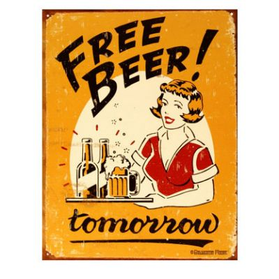 Placa Metálica Free Beer Tomorrow