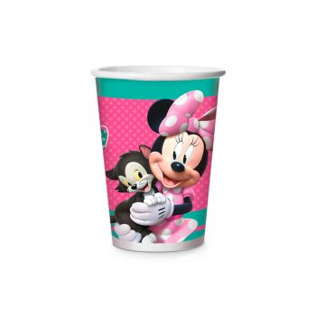 Copo Papel Minnie Rosa Happy 180 ml - 8 unidades