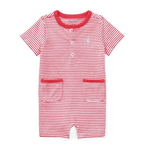 MACACÃO CURTO RALPH LAUREN ROMPER STRIPED RED