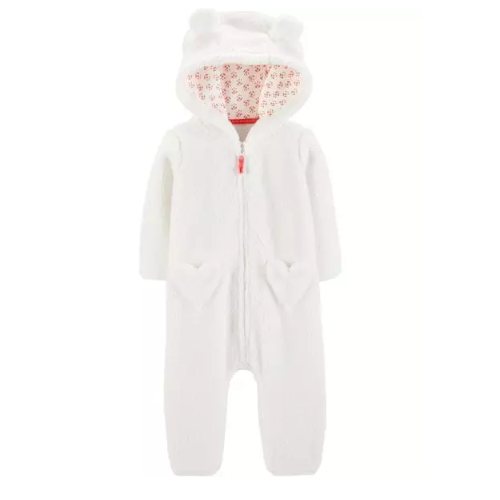 Macacão Carter's Jumpsuit Sherpa White