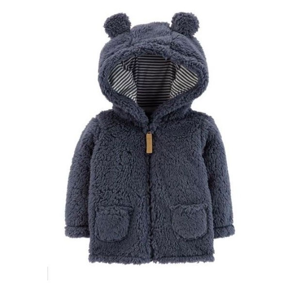 CARDIGAN CARTER'S ZIP-UP SHERPA BEAR NAVY