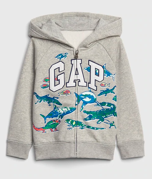 MOLETOM GAP COM CAPUZ ANIMALS GREY