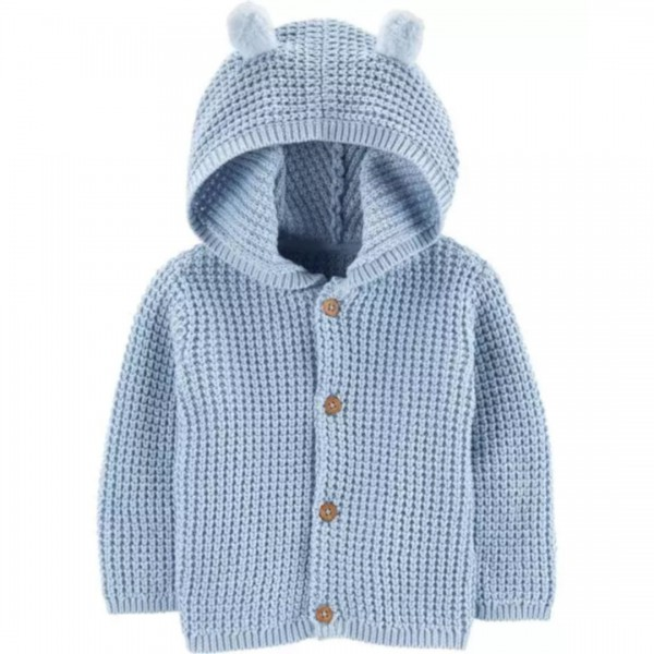 Cardigan Carter's Com Capuz Bear Blue