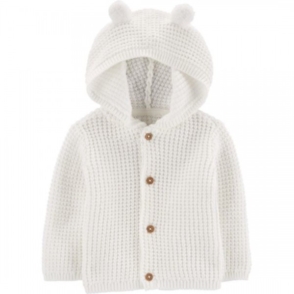 Cardigan Carter's Com Capuz Bear White