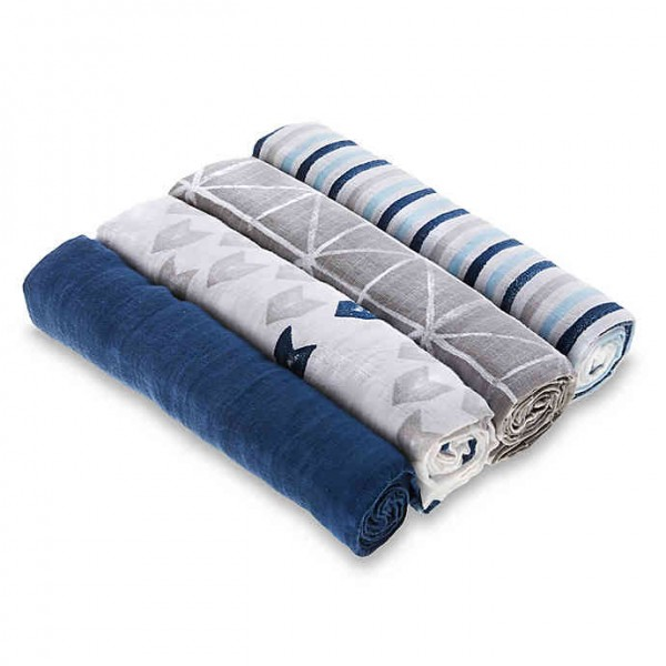 Swaddles Kit 4 Peças Aden Striped Blue