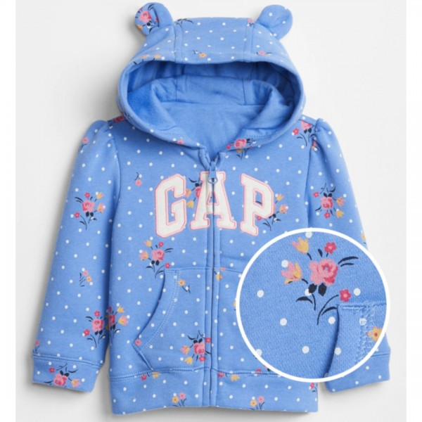 Moletom Gap Com Capuz Bear Flowers Blue