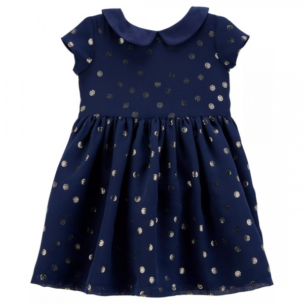 Vestido Carter's Holiday Polka Dot Navy