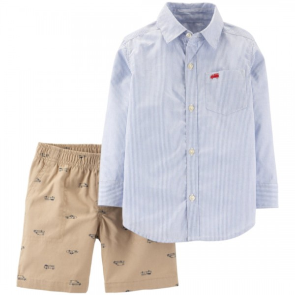 Conjunto Carter's Little Short Hero Striped Blue
