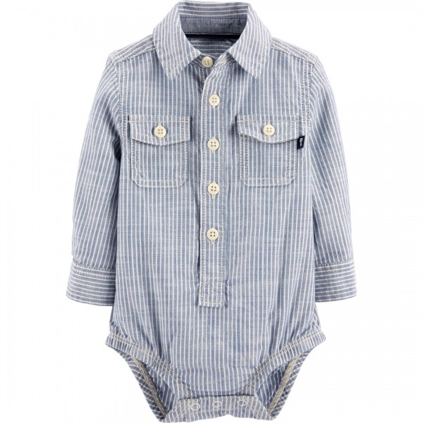 Body OshKosh Manga Longa Striped Denim