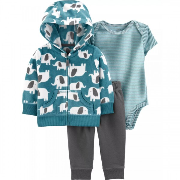 Conjunto Carter's Little Jacket 3 Peças Striped Elefante