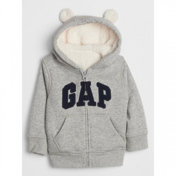 Moletom Gap Com Capuz Sherpa Bear Grey