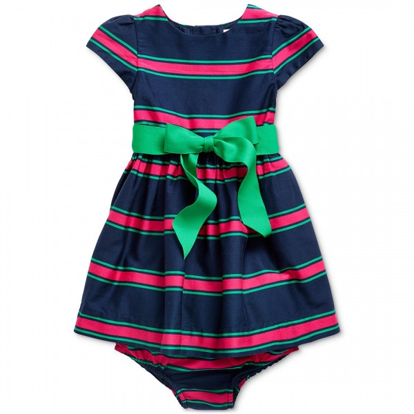 Vestido Ralph Lauren Striped Laço Green