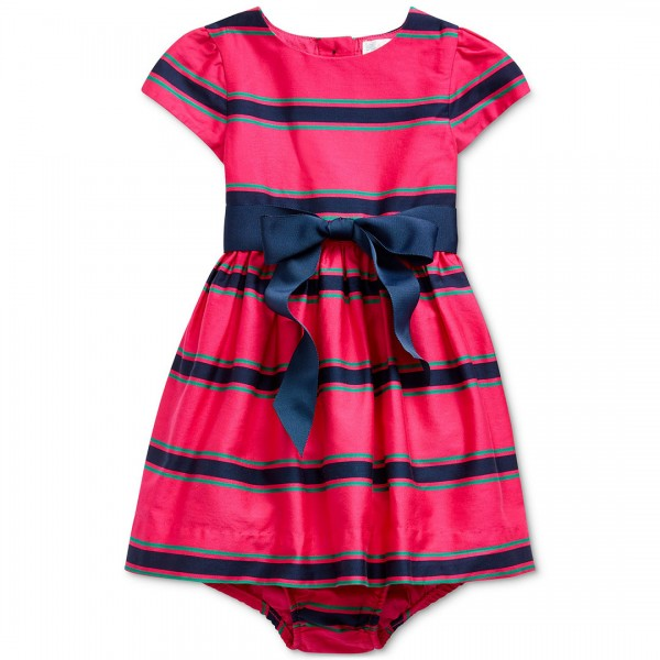 Vestido Ralph Lauren Striped Laço Navy