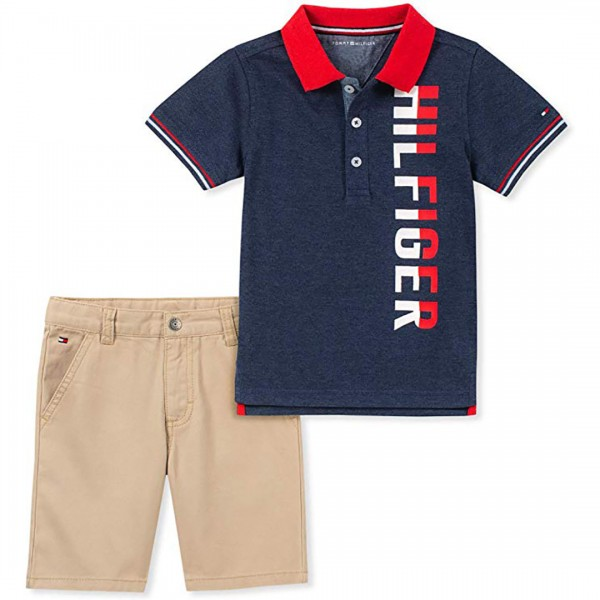 Conjunto Tommy Hilfiger Short Polo Navy