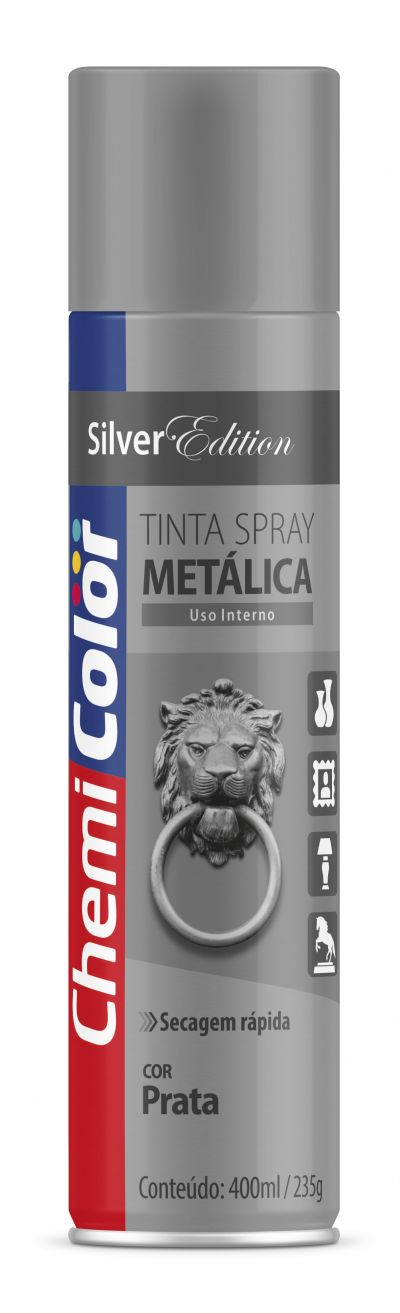 Tinta Spray Prata Metálica 400ml - Chemicolor
