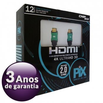 Cabo HDMI 2.0 Premium 4K Ultra HD 3D Chip Sce - 19 Pinos - 12 metros - 018-1220