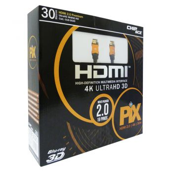 Cabo HDMI 2.0 Premium 4K Ultra HD 3D Chip Sce - 19 Pinos - 30 metros - 018-3020