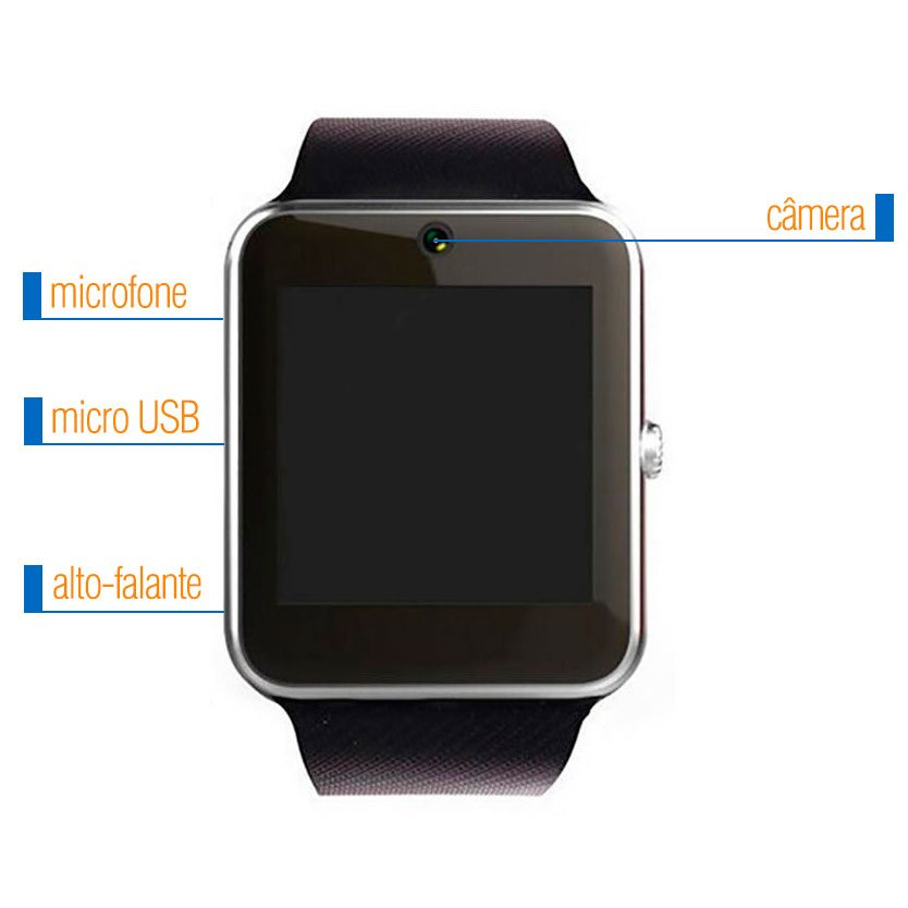 6500ed4a274 Relógio Bluetooth Smartwatch Gear Chip GT08 Iphone e android Moderno ...