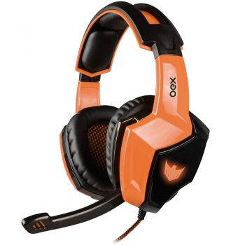 Headset Eagle Gamer OEX HS401 – 7.1 Virtual Surround - Ajuste de Volume - Compatível com PS4 – LED