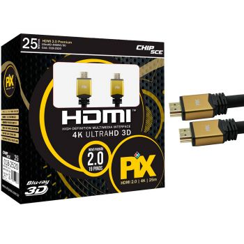 Cabo HDMI 2.0 Premium 4K Ultra HD 3D Chip Sce - 19 Pinos - 25 metros - 018-2520