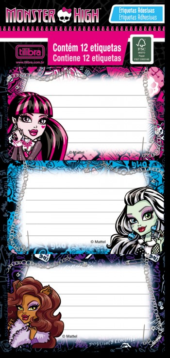 Etiqueta 141073 Monster High c/ 12 Etiquetas  - foto principal 1