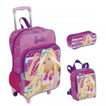 Kit Mochila Grande com Roda Barbie 16M Plus 63850 + Lancheira 63852 + Estojo 63853