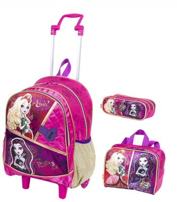 Kit Mochila Grande com Roda Ever After High 16Y 64310 + Lancheira 64314 + Estojo 64315