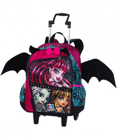 Kit Mochila Grande com Roda e Alças Monster High 16Z 64190 + Lancheira 64195 + Estojo 64197