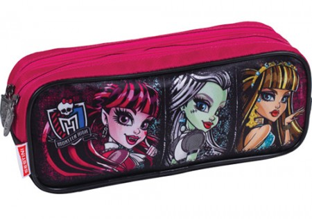 Kit Mochila Grande com Roda Monster High 16Z 64191 + Lancheira 64195 + Estojo 64197