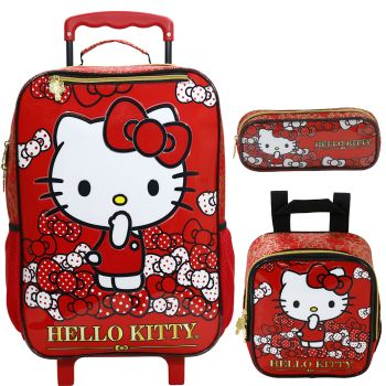 Kit Mochila Grande com Roda Hello Kitty 7850 + Lancheira 7854 + Estojo 7856
