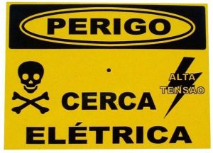 Kit 10 Placas Advertencia Cerca Eletrica 2 Lados Pequena