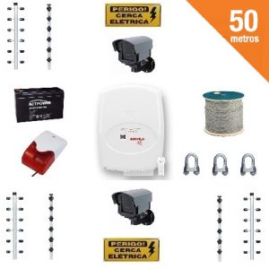 Kit Cerca Elétrica 18.000V Big Hastes Protection Total 50 Mts de Muro + Brindes