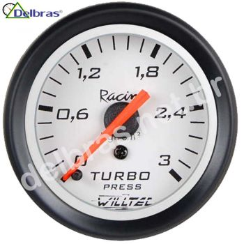 Pressão Turbo 3kg ø52mm C/ Led - fundo branco e aro preto Racing