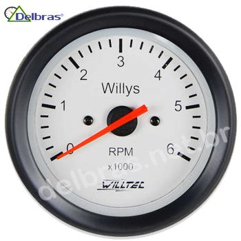 Contagiro Willtec 6.000 RPM 8Cil Carb/Inj - ø100mm - Aro Preto/Fundo Branco Willys