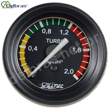 Pressão Turbo 2 Kgf/cm² - ø52mm - Aro Preto Racing