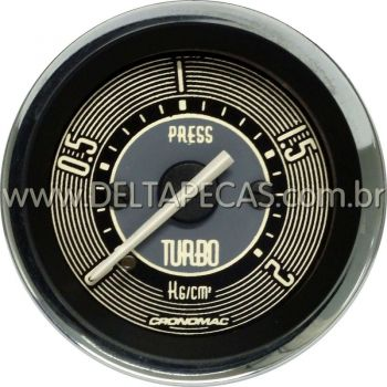Pressão do Turbo 0-2Kg 52mm VW Retrô - Bege / Aro Cromado | Cronomac |